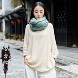 Solid Cotton long sleeved pullover shirt