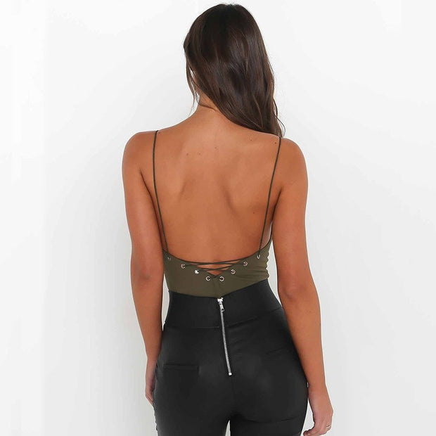 The new deep V jumpsuits sexy backless condole top dress