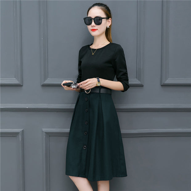 Cultivate one's morality Fake two piece Medium long dress