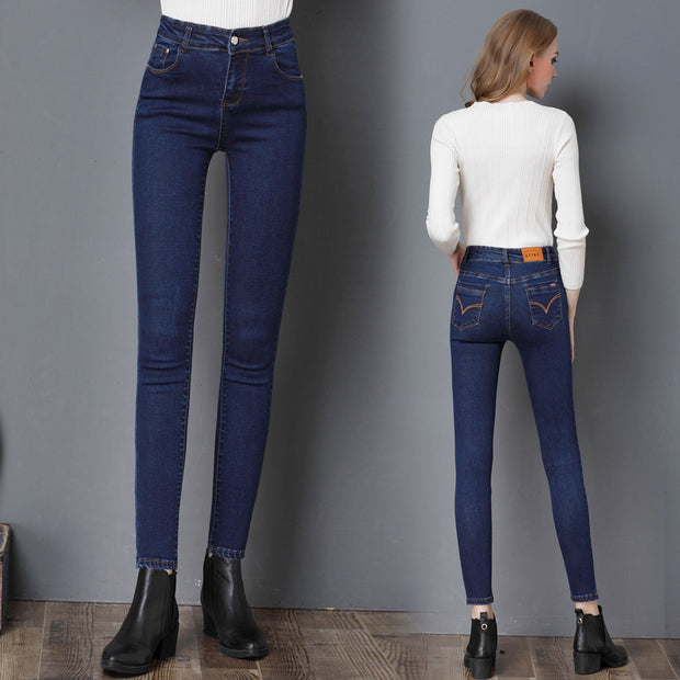 Map fish 2018 winter and autumn explosion, high stretch women's jeans, slim slim, pencil boots, pants