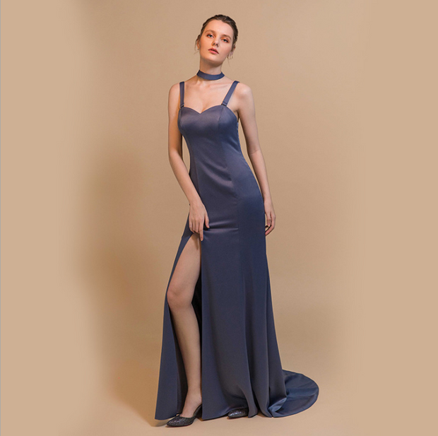 Women Solid Color Tight-fitting Side Slit Gown