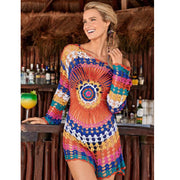 2019 Europe and the United States hook flower hollow blouse beach knit blouse long-sleeved holiday wear bikini rainbow sun protection clothing