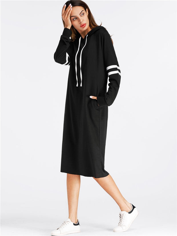 Black Hoodies Dress Women Long Sleeve Striped Casual Tops With Hooded Loose Dresses Spring Autumn Vestidos Pullovers Female