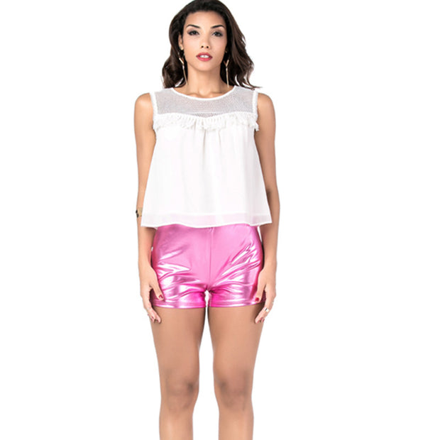 Cross-border new explosion models fashion sexy nightclub patent leather straps leggings shorts women
