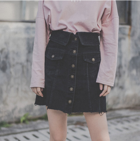 Black high waist denim skirt female summer Korean version of the new single-breasted stitching package hip A word skirt