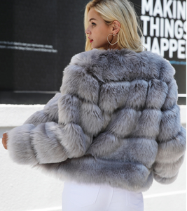 Women New Faux Fur Slim Mink Coat Jacket
