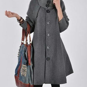 Thickening Solid Color Button Up Woolen Coat