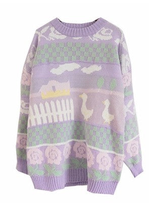 Sweet jacquard knitted sweater