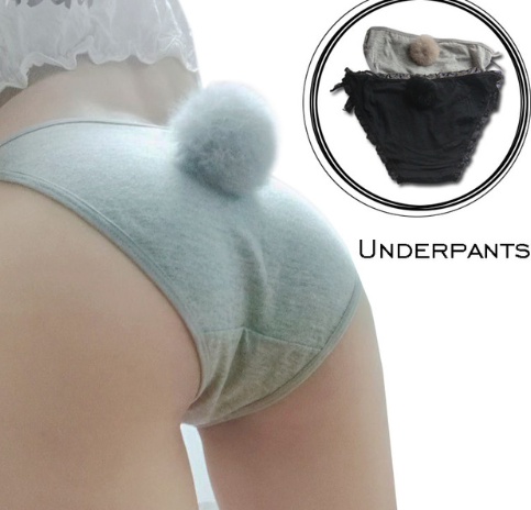 Cute rabbit tail tie sexy cotton girl underwear