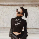 European and American street style letters embroidered tight-fitting navel long-sleeved high-neck short T-shirt female bottoming shirt