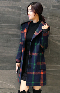 British Style Wool Plaid Slim Hoodie Coat