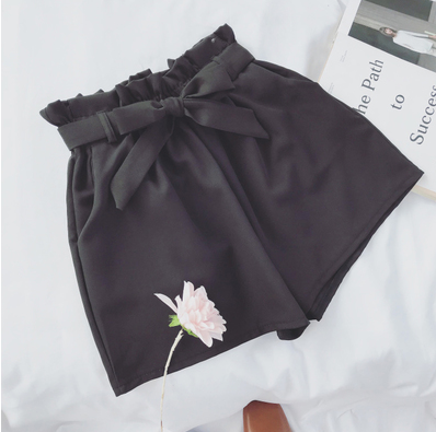 Bow Tied Loose  High Waist Wide Leg Shorts