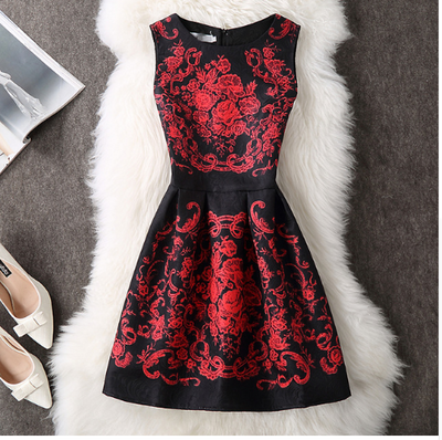 Autumn Winter Elegant Sexy Casual Floral Dress Vintage Sleveeless Party Dresses