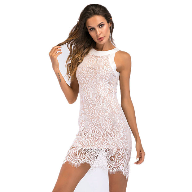 Women's Lace Dress Summer Europe and Europe hanging neck hollow sexy slim bag hip pencil skirt