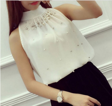 Off-the-shoulder Halter Chiffon Shirt
