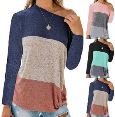 Bat Sleeve Round Collar Color Twist Top T-Shirt