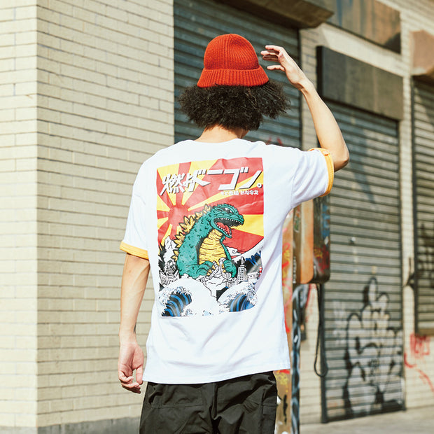 Spring and summer new tide brand retro personality cartoon dinosaur men's casual short-sleeved T-shirt lovers