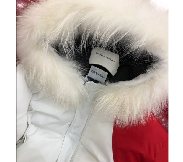 Winter new back sun flower embroidery large fur collar black red and white color matching cotton clothes