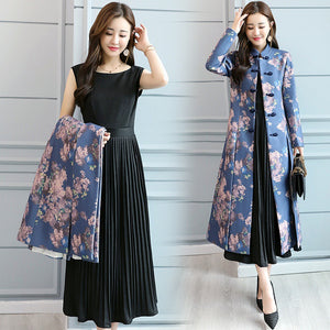 Women Autumn Modern Cheongsam Dress Suit