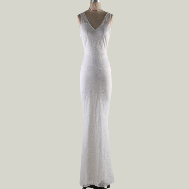 Floor-length Deep V White Lace Gown