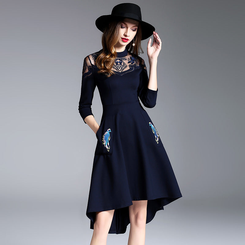 Fashion Tight Fitting Long Sleeve A-line Dress