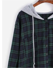 New ladies checkered hooded long sleeve sweater
