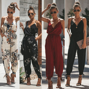 Printed sexy backless tether pocket sling V-neck female jumpsuit