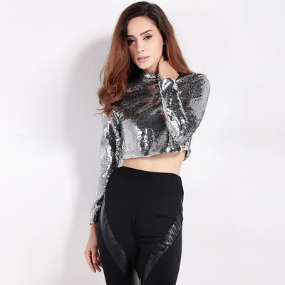 Full sequined top Sexy navel slim female T-shirt