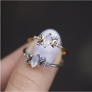 New Vintage Geometric Jewelry Women Sliver/rose gold Moonstone Ring For Women Wedding Engagment Ring Size:6-10
