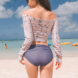 Korean women's long-sleeved surf suit split swimsuit one-shoulder high waist covered belly sunscreen drawstring student snorkeling suit