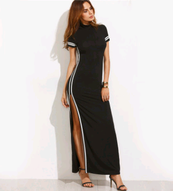 Sexy Black Cut Stripe Trim Short Sleeve High Neck Sheath Split Maxi Dress Dress