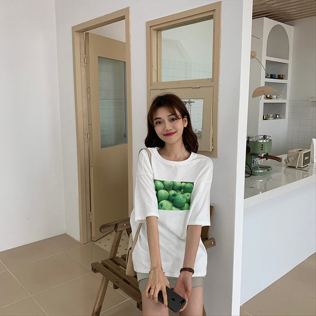 Korean version of loose casual fruit pattern printing round neck pullover short-sleeved T-shirt female