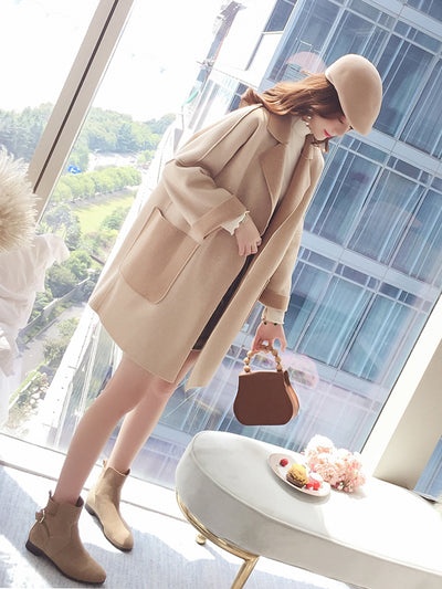 Autumn and winter woolen coat female long section Korean version of the loose double-sided Nizi coat female