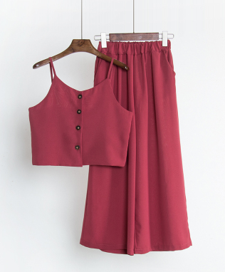 Cami Top & Wide Leg Pants Two Piece Suit