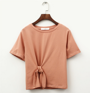 Solid Color O-Neck Casual Bow-tie T-shirts