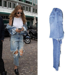 Ripped Tassel Stretch Denim Jeans With Forged Skirt