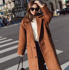 Woolen coat female long section 2018 new autumn and winter Korean version of Harajuku bf caramel short short woolen coat