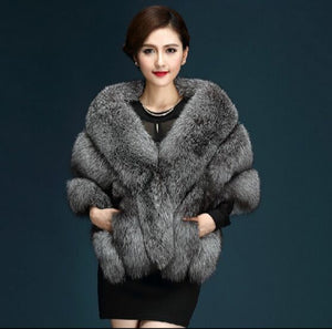 Autumn and winter new fox fur silver fox imitation fur coat shawl cape female