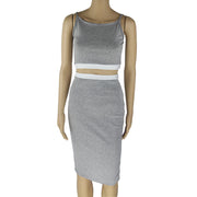 USA Size Gray-tone stitching two-piece sexy strap dress