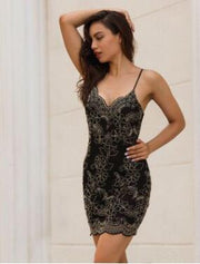 Women Spaghetti Embroidery Bodycon Dress