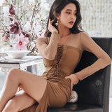 2019 spring new Korean version of the ladies temperament Slim stitching perspective straps fashion split bag hip dress female