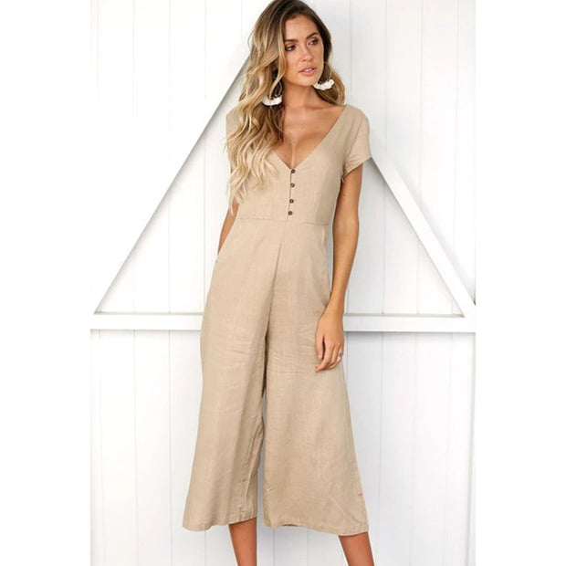 V-neck fashion casual pants button jumpsuit