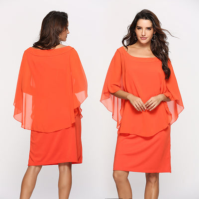 Europe and the United States large size women's cover meat dress fake two-piece blouse chiffon skirt LQ3357
