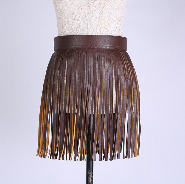 Short Tassel Fringe Faux Leather Skirt