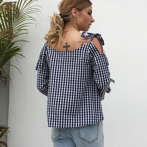 USA SIZE Casual black and white plaid cross strap strapless long sleeve bow shirt blouse shirt