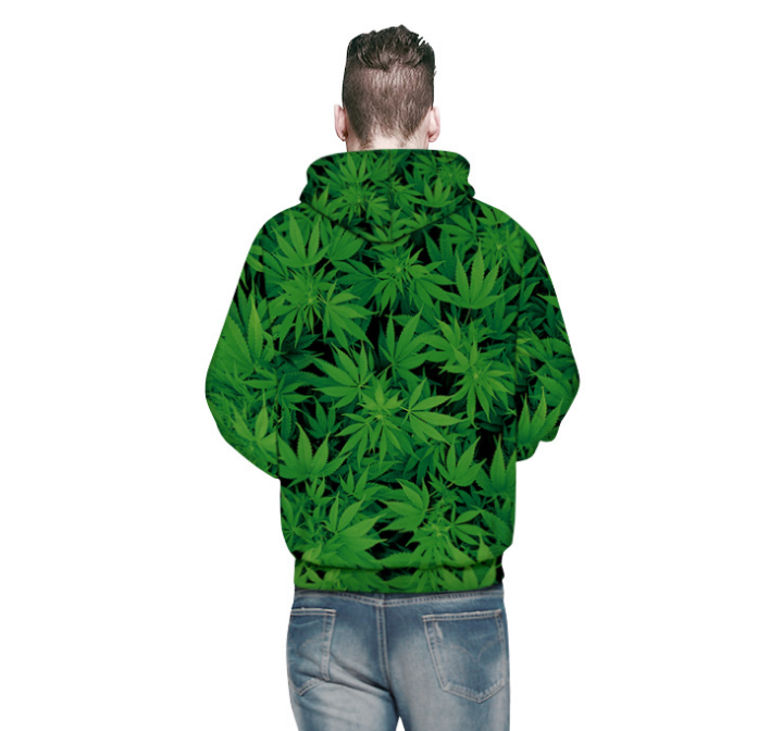 Casual loose version hooded sweater 3D leaf pattern digital print sweater