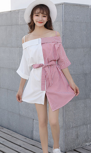 Irregular Color Blocked Stripe Shirt Dress