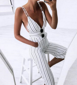 Fashionable sexy suspenders stripes pants