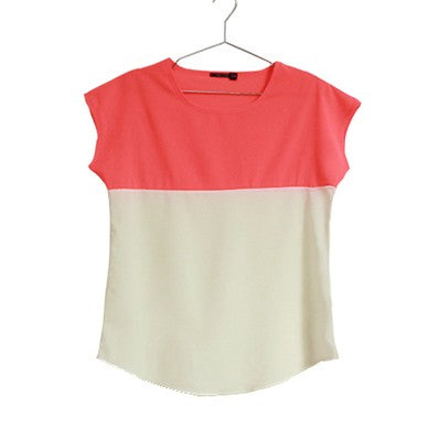 Chiffon Elegant two-color short sleeves T-shirt