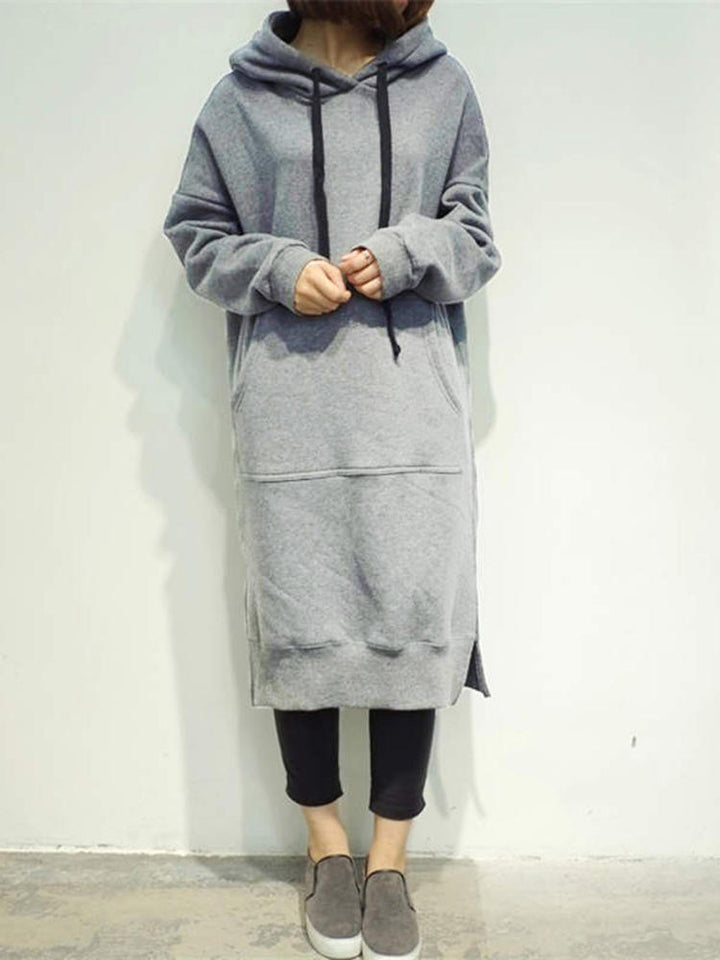 Long sleeved pure color long casual sweater